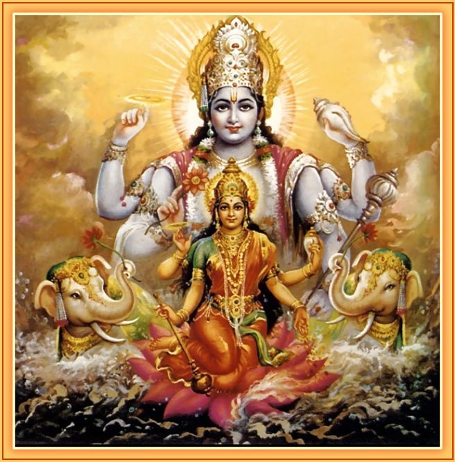 Vishnu and Lakshmi-Performing the Pumsavana Ritualistic Ceremony