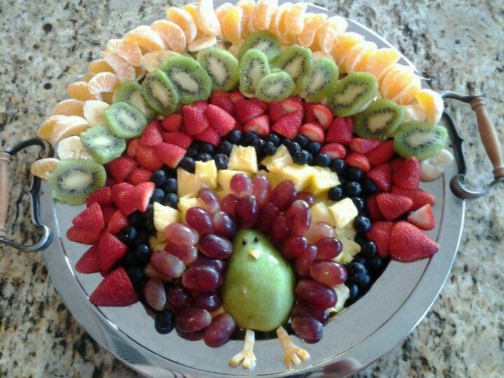 Thanksgiving turkey fruit platter.