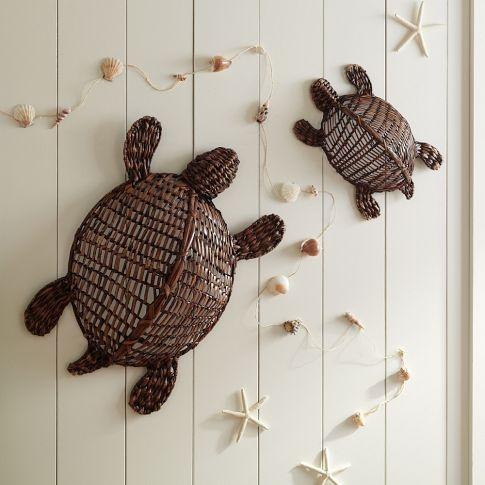 shell garland- diy with hemp and dollar store basket of shells