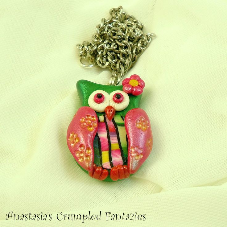 Green pink colorful fimo owl pendant,  Polymer clay forest creature bird necklace, Cernit feather wing flower, Cute kawaii critter jewelry by CrumpledFantazies on Etsy