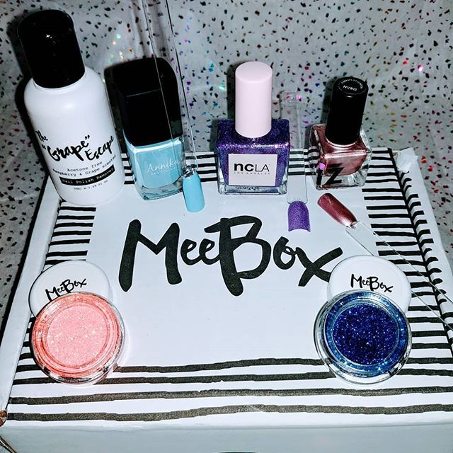 """Received this months @meeboxuk. Super excited about painting my nails this weekend.  Inside the box is: @shopncla """"let's go party"""" @izbeautyldn"""" Ball gown"""" @annika """"pool party"""" @meeboxuk """"naomi glitter"""" @meeboxuk """"claudia glitter"""" @meeboxuk nail polish remover  #meeboxuk #mymeebox #glitter """"polish #nailart #sparkle #Nailpolish #naillove #nailart #nailcombo #naildesigns #nailstamp #nailporn #nails #nailvarnish #nailfun #nailswag #mandyknaiks"""