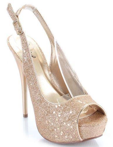 Champagne Pewter Glitter Open Toe Slingback Heel Shoe | eBay