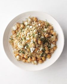 Quinoa salad with chickpeas, feta, lemon (maybe some cucumber?)
