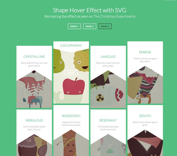 Shape Hover Effect with SVG Recreating the effect as seen on The Christmas Experiments  http://tympanus.net/Tutorials/ShapeHoverEffectSVG/index3.html