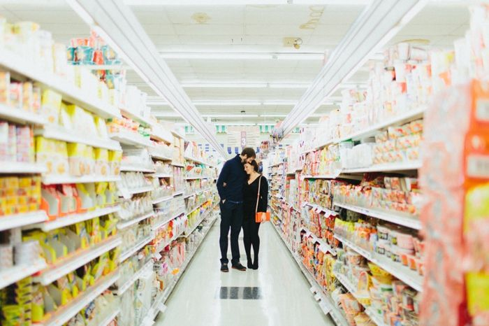Engagement pictures in a supermarket ! Love this | Amanda & Neal's Bull Run Winery & H Mart engagement pictures | Images: Love by Serena