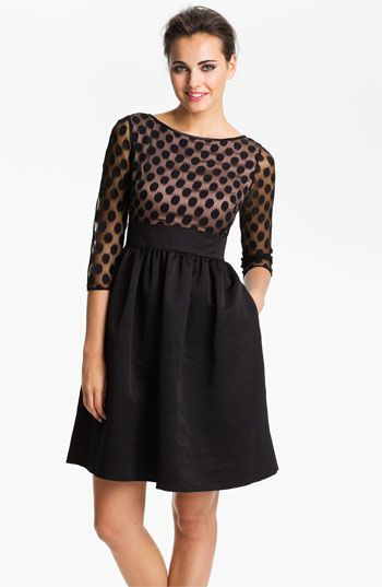 Eliza J Dot Mesh Bodice Fit & Flare Dress | Nordstrom. For Dave and Erika's wedding?