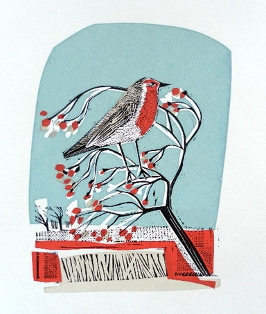 'Robin Song' by Angela Harding (lino & silkscreen)
