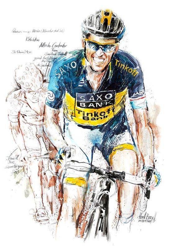 Alberto Contador  http://eltiodelmazo.com/2013/03/09/grandes-ilustraciones-de-ciclismo-contador-purito-gilbert-cavendish/#
