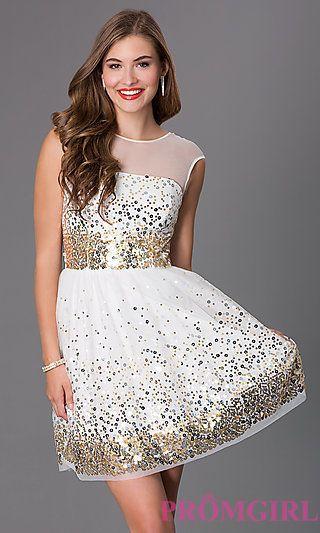 Sequin Embellished Babydoll Dress by Emerald Sundae  at PromGirl.com