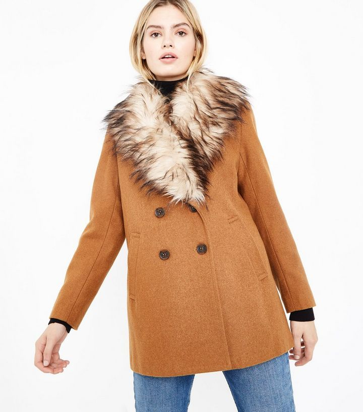 Tan Faux Fur Collar Double Breasted Coat   New Look