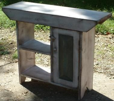 Primitive Wood Craft Ideas | Plant Stand With Door-Country Rustic Primitive Furniture