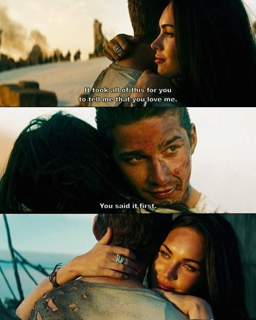 Megan Fox and Shia Labeouf in the first Transformers movie #socute