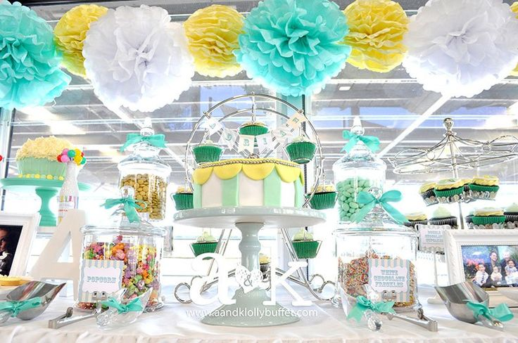 Adrian's Pastel Green & Yellow Carnival Themed Naming Day Dessert Buffet