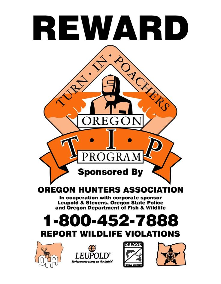 Reward turn in poachers oregon tip program by the for Oregon department of fish and wildlife