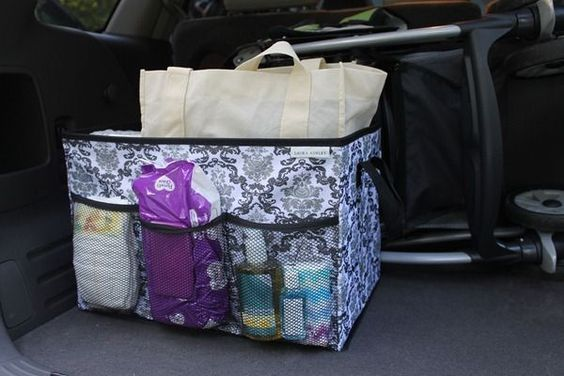 Baby essentials car caddy. brilliant. no need to super stuff the diaper bag now...Well, I've been doing this with a backpack, but a cute little organizer would be good too!