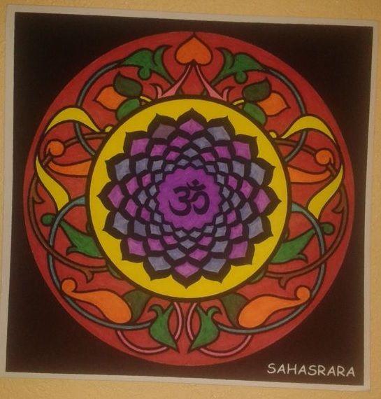 Mandala séptimo chakra Sahasrara el de la coronilla pintado