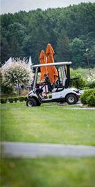 voiturette en attente d'un golfeur au club house... il faut croire que les golfeurs du jour ont préféré marcher...