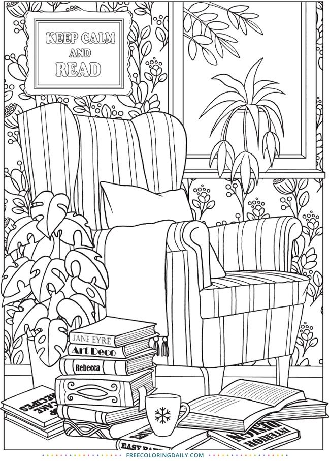 Free Living Room Coloring (With images) | Coloring pages ...