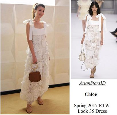 Chloé Grand Opening - Jeanette Aw: Chloé Spring 2017 RTW Look 35 Dress Photo: @jeanetteaw, @voguemagazine, Umberto Fratini / @Indigital.tv  For more and/or where to buy this item, visit asianstarsid.com  #jeanetteaw #vogue #umbertofratini #indigitaltv #chloe #fashion #singapore #sg #mediacorp #actress #asianstarsid #spring2017 #rtw #dress