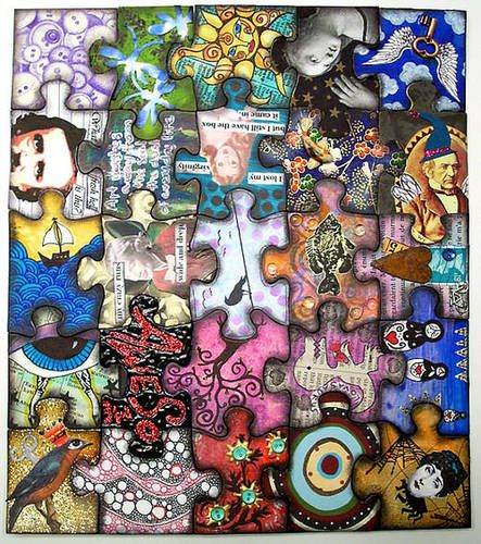 Group art project. Each student designs his/her own piece of the puzzle.  This would be cool to do with the girls, each year on thier birthday they design a different piece and give them the puzzle for graduation