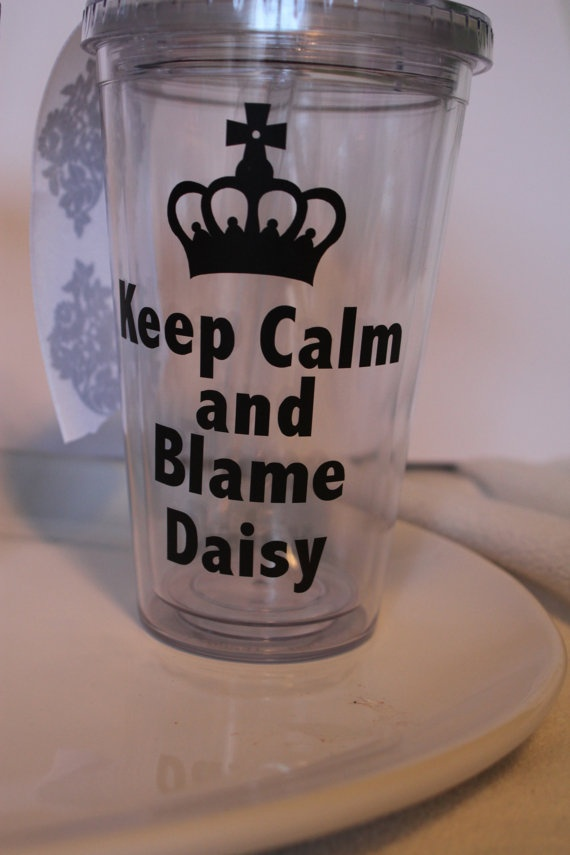 """DOWNTON ABBEY insulated tumbler Keep Calm and Blame by TAMstyle, $12.50...everyone needs one for the """"viewing party"""""""