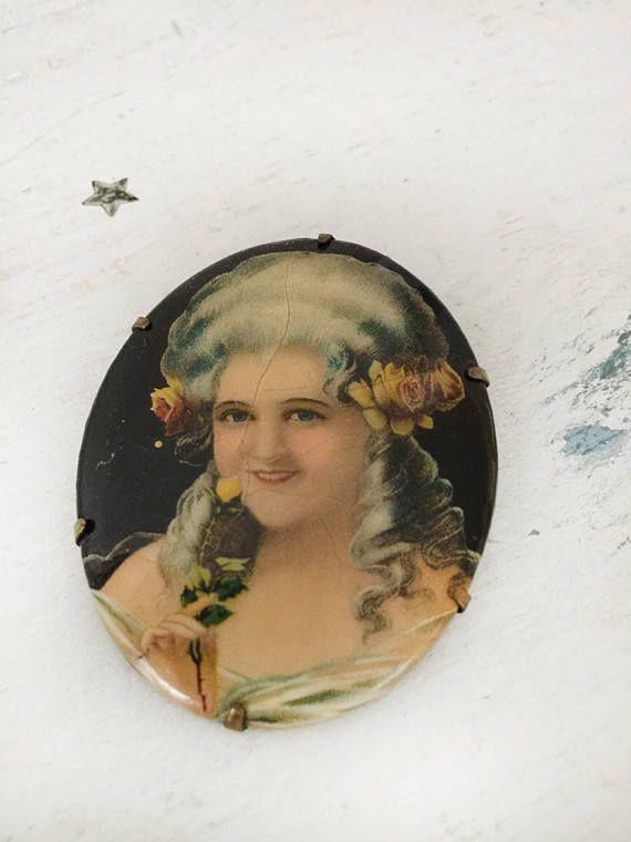 Gorgeous lithograph portrait brooch victorian portrait