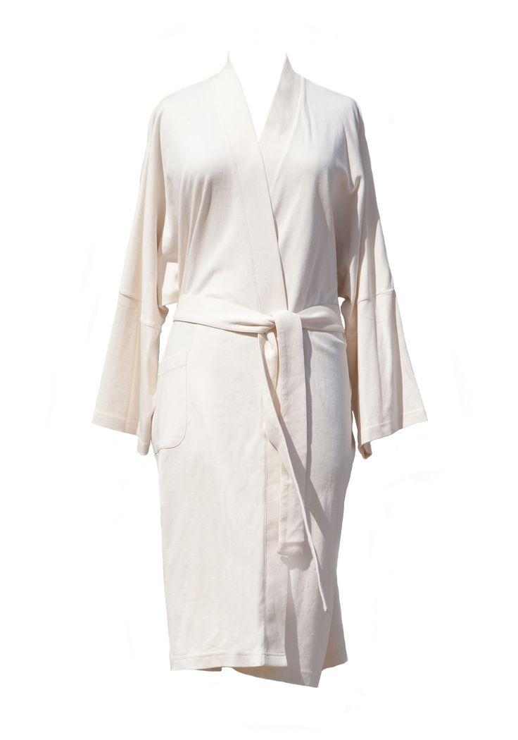 Lightweight Organic Cotton Kimono Bathrobe - Natural.