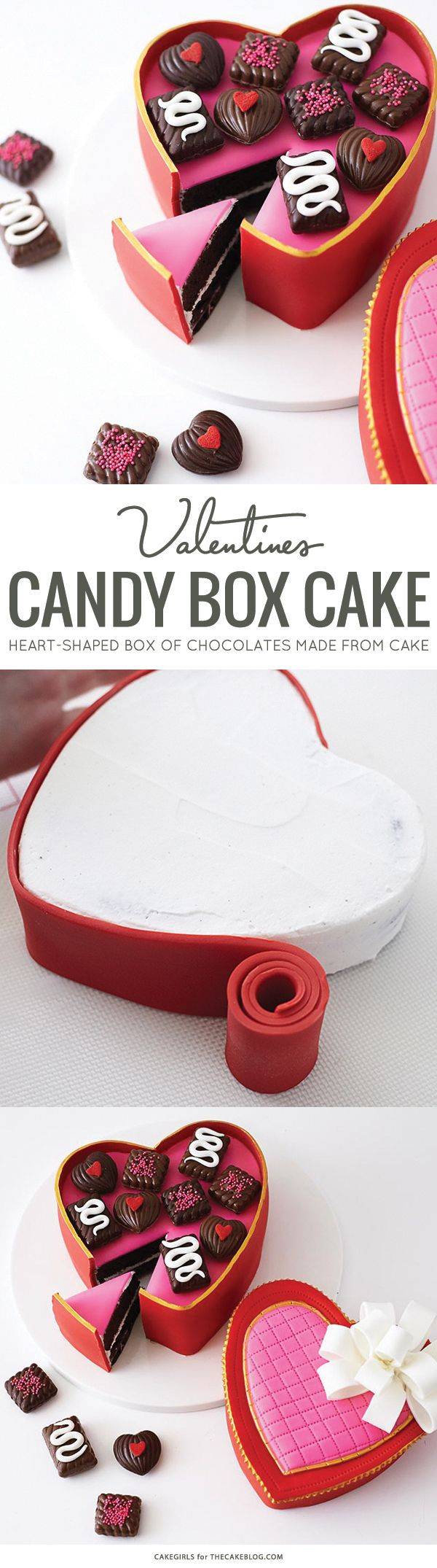Learn how to make this Valentine's candy box cake with a step-by-step tutorial. A heart-shaped box of chocolates made from cake. By Cakegirls for TheCakeBlog.com.