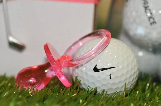 golf themed baby shower decor except in blue