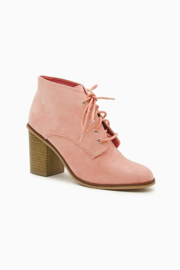 ShopSosie Style : Lewis Lace Up Booties in Salmon