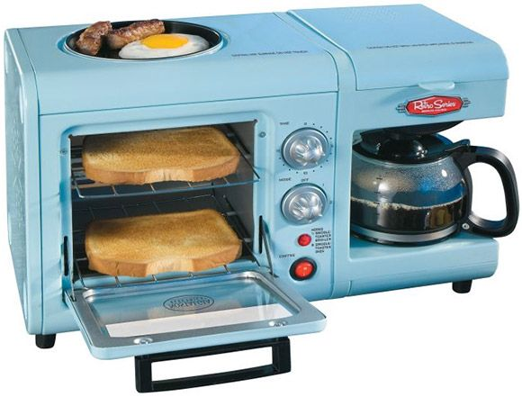 - Toaster oven, griddle, coffee maker in one unit   - 6-liter mini toaster oven   - 4 cup coffee maker   - Removable non-stick hot plate