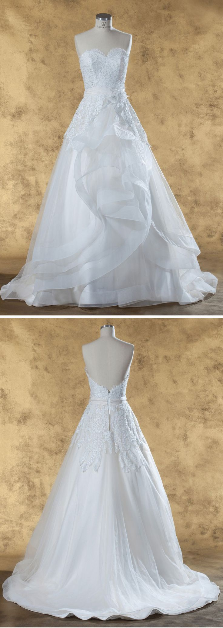 """Isabel de Mestre - New York Kollektion 2017: Brautkleid """"Ariane"""" im Prinzessinnenstil, trägerlos mit tiefem Rückenausschnitt."""