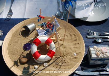 Tengerparti esküvő stílus, tengerész stílus, matróz stílus (asztaldísz)