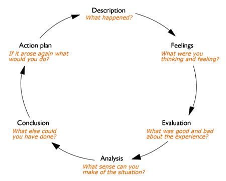 The reflective cycle - Gibbs - diagram
