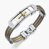 "InFaith™ ""The Cross"" Stainless Steel Twisted Band Faith Bracelet"