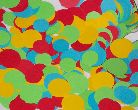 400 Paper Confetti  Dots  round  Aqua Red Lime by APaperPlayground, $6.00