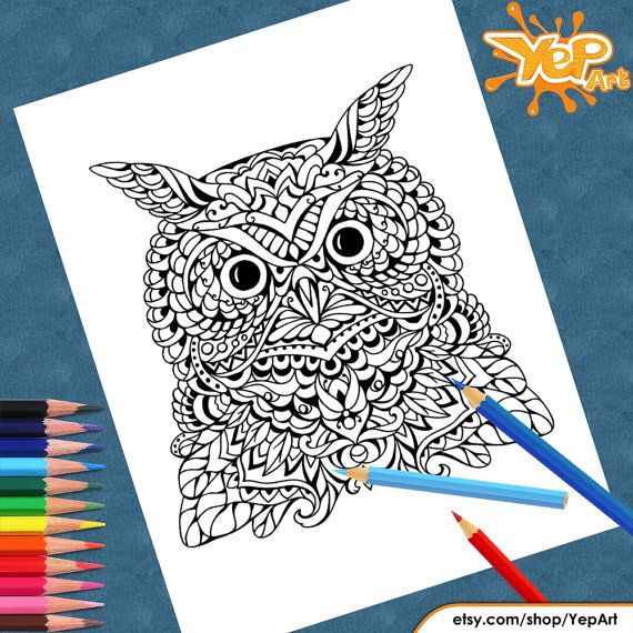 Pretty Owl Adult Coloring Page Book Digital Instant PDF Download Printable