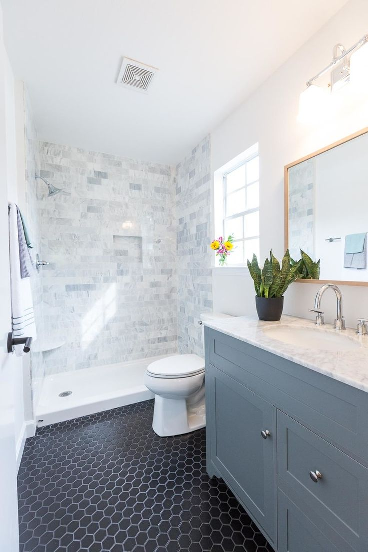 Blue and white bathroom floor tiles - Carrara Marble Tile Shower Surround Black Hex Tile Gray Vanity With Carrara Marble Top