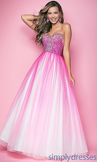 Floor Length Strapless Ombre Gown at PromGirl.com