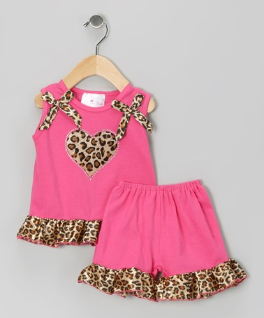 Take a look at this Diva Daze Pink Cheetah Heart Top & Shorts - Infant & Toddler by A Touch of Chocolate: Babywear on #zulily today!