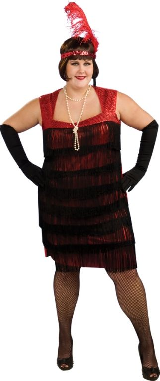 a787ffd824b Flapper Plus Size Costume Flapper Plus Size CostumeSing and dance your way  back in time to the roaring 20 s! Costume Includes  Red and black fringe  dress an