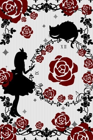 Roses, The cheshire cat and Alice. This would make a great wallpaper for a room