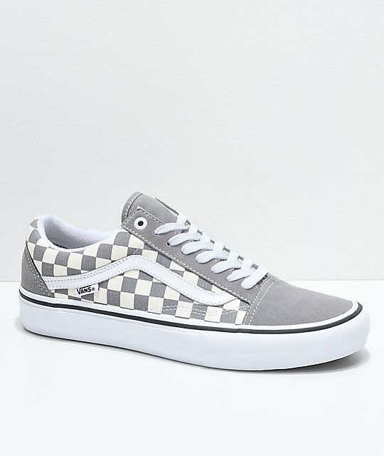 a109b2dbe75ea8 Vans Old Skool Pro Grey Checker   White Skate Shoes