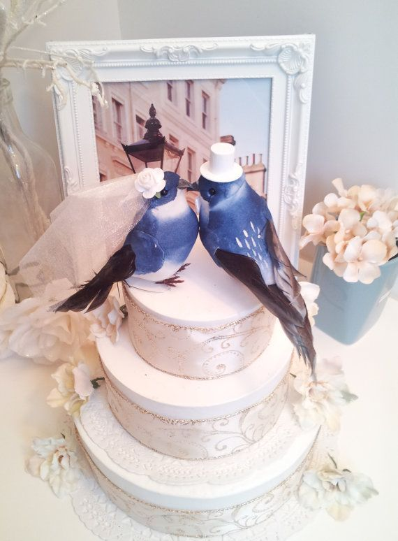 large royal blue wedding love birds cake topper by MissRoseDanae