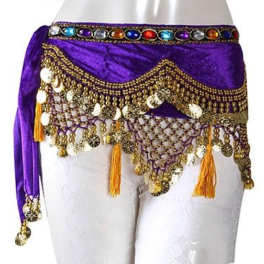 dancewear veludo com moedas / beading desempenho cinto dança do ventre para senhoras mais cores