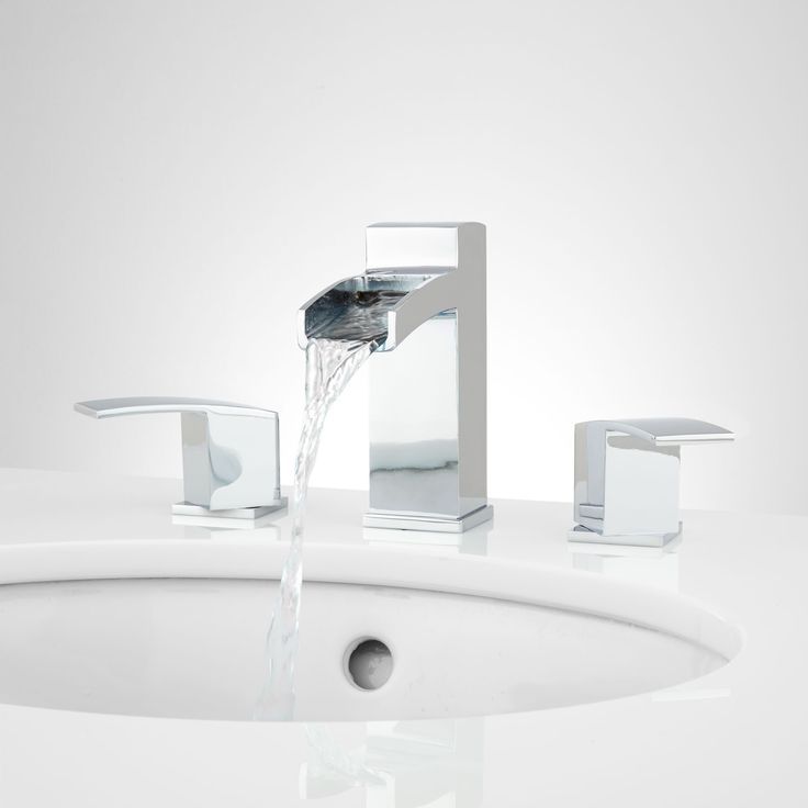 Morata Widespread Waterfall Bathroom Faucet - No Overflow - Chrome