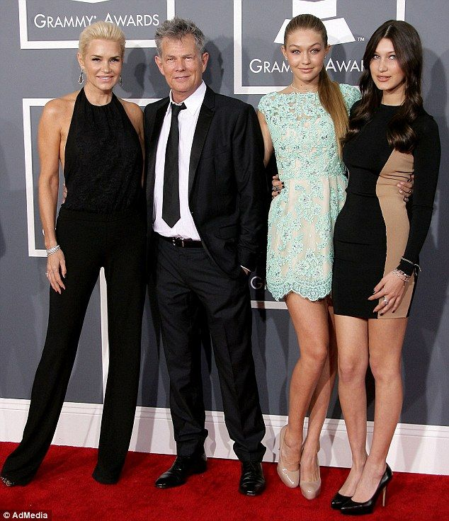 Lucky genes: Bella (right, in February 2013) may not yet have as much exposure as her older sister (second right, with mother Yolanda Foster (Real Housewives of Beverly Hills) and stepdad David Foster) but she certainly has potential
