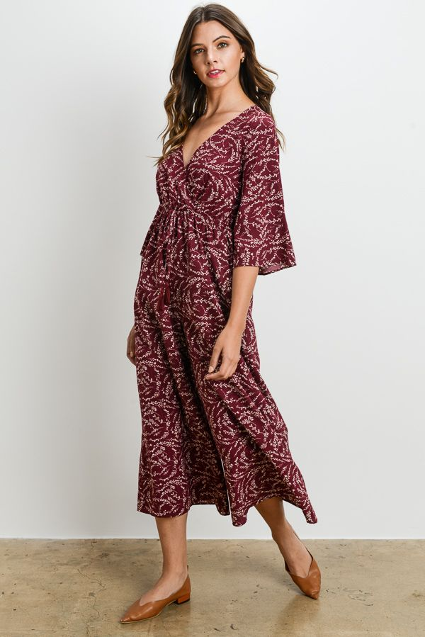 8f1603891878 Leaf Floral Printed Jumpsuit Burgundy   Navy Only available at charmeu.com  or lacharmeu.com Shop with us and get offer of 20% off on your first order