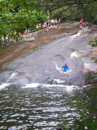Sliding Rock, NC. This place is so much fun! If you have never been you have to go it is amazing fun.