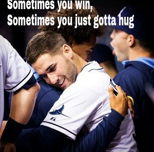 Tampa Bay Rays Chris Archer and Kevin Kiermaier hug it out:)
